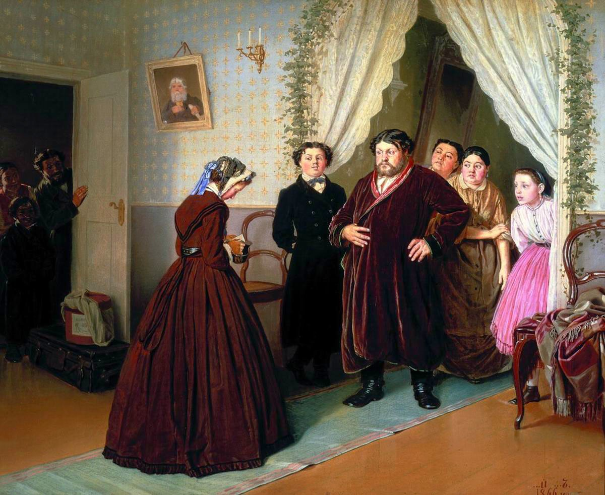 English:A governess is arriving into a merchant's house, 1872 Painting by VasilyPerov, Russian, 1833 - 1882