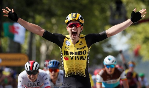 Rookie van Aert wins 10th stage of Tour de France