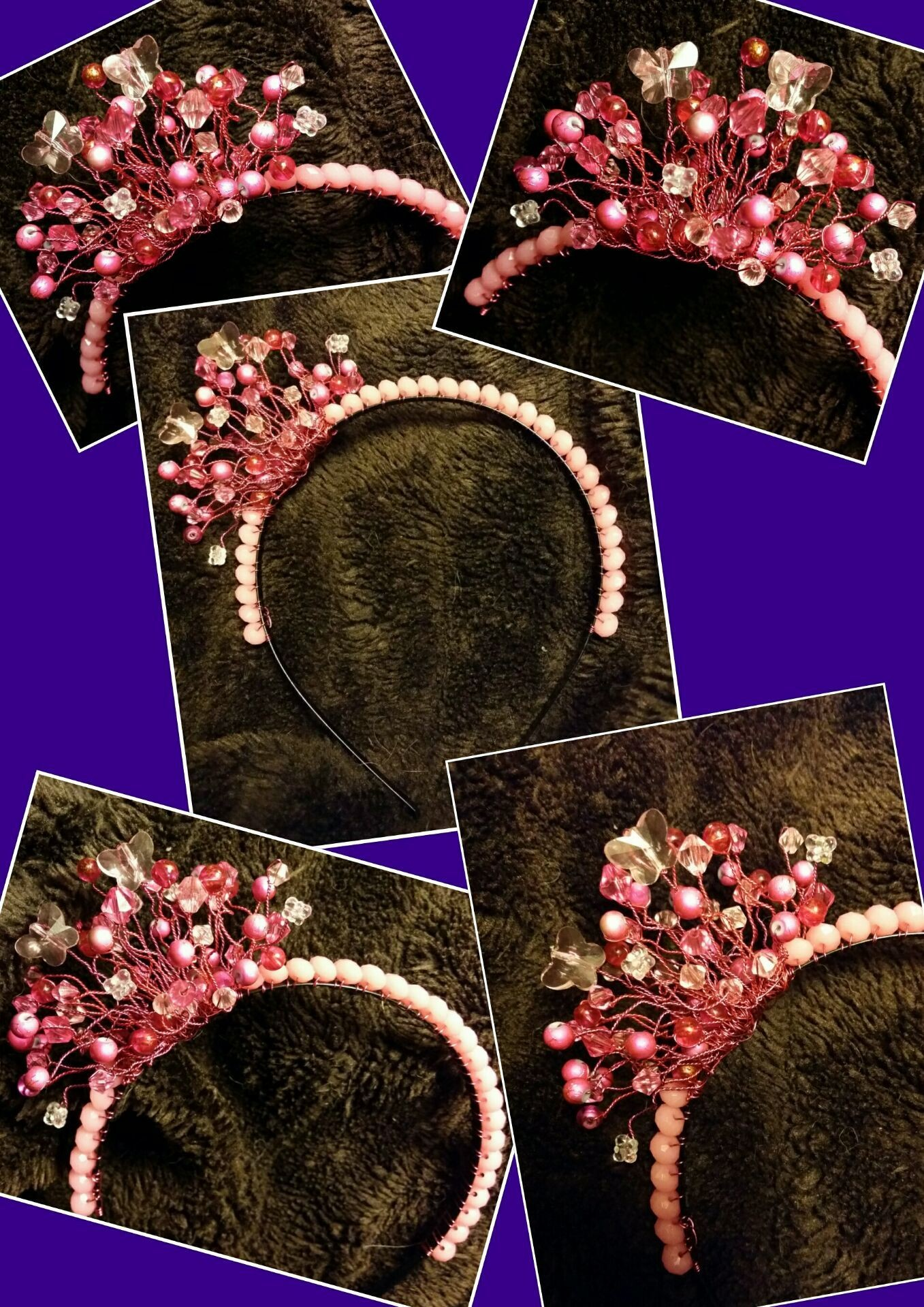 Bridesmaid/Prom/Dress-up Tiara or Headband in pinks. I also included 5 butterflies as I know the little girl loves them - £15