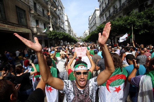 Algerians defiant in first protest since election call