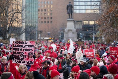 Indiana teachers use 'outside voices' to demand higher wages