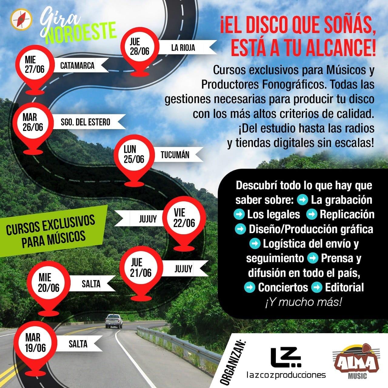 """Atención a todo el NOA #Jujuy #Salta #Tucuman #Santiago #Catamarca #LaRioja Curso Gratuito """"Tu Camino al disco"""" para #Músicos #Artistas #Productores #Instituciones #Fundaciones #Gremios Inscríbete Gratuitamente aquí:"""
