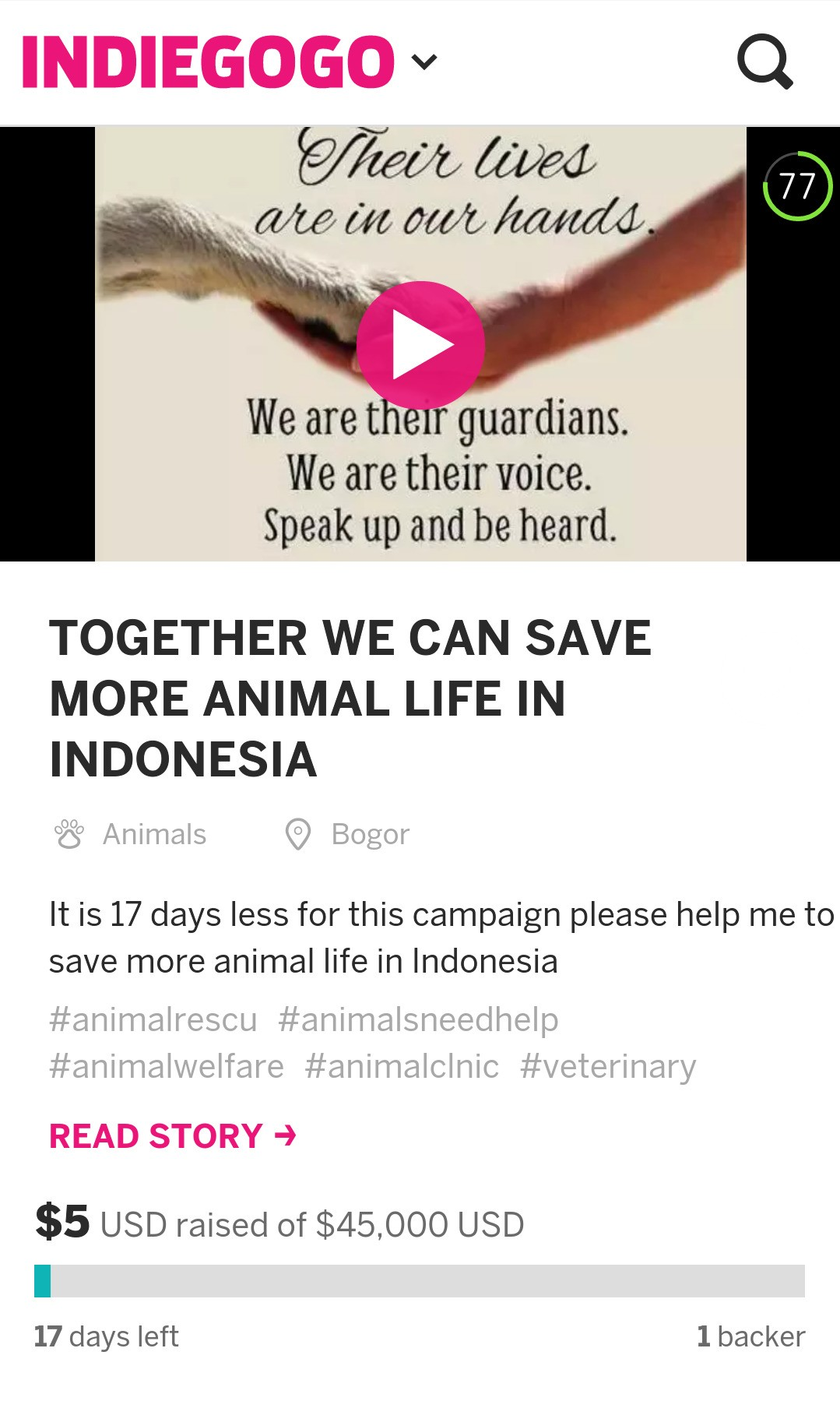 "Watch ""Together We Can Save More Animal Live"" on YouTube - reaching out to ask for your support for this projects ""TOGETHER WE SAVE MORE ANIMAL LIFE"" fundraiser on Indiegogo. There are a few ways to help : 1. Donate Everything will be helps. Even small donations have big impact for this project. 2. Post to Facebook, Instagram, Path, LinkedIn, Twitter, etc. There more people who hear about us, the more likely we are meet our goal for this project. 3.Share with your community. Call your friends, tell your co-workers, make an announcement at your organization's event to spread the word for this project I really hope your donations goes farther to help us reach our goal. Thank you Dwi wisnugrahani Check out ""TOGETHER WE CAN SAVE MORE ANIMAL LIFE IN INDONESIA"" on Indiegogo"