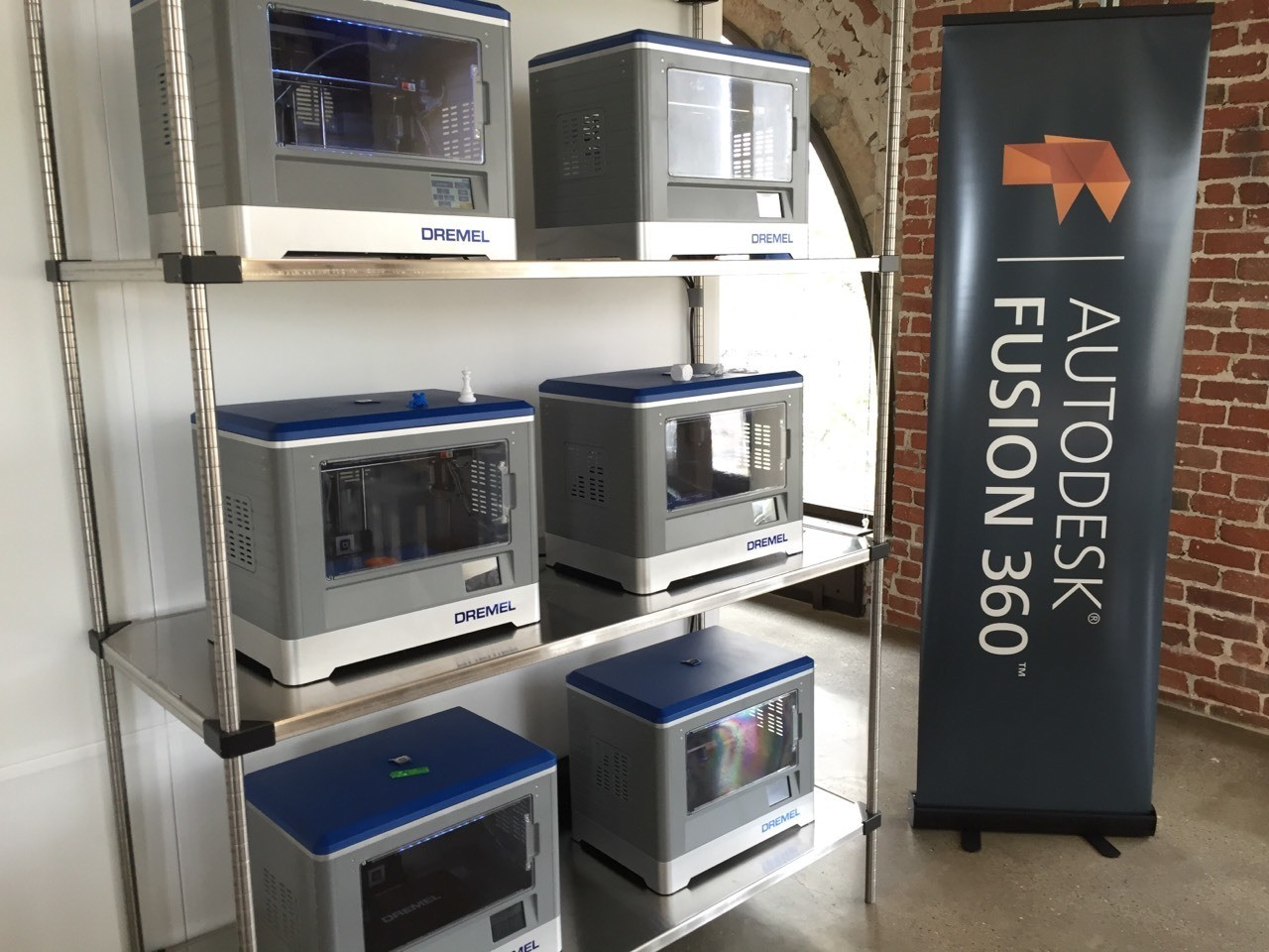 Fusion 360 training area at the Autodesk Gallery in San Francisco, along with the 3D printers.