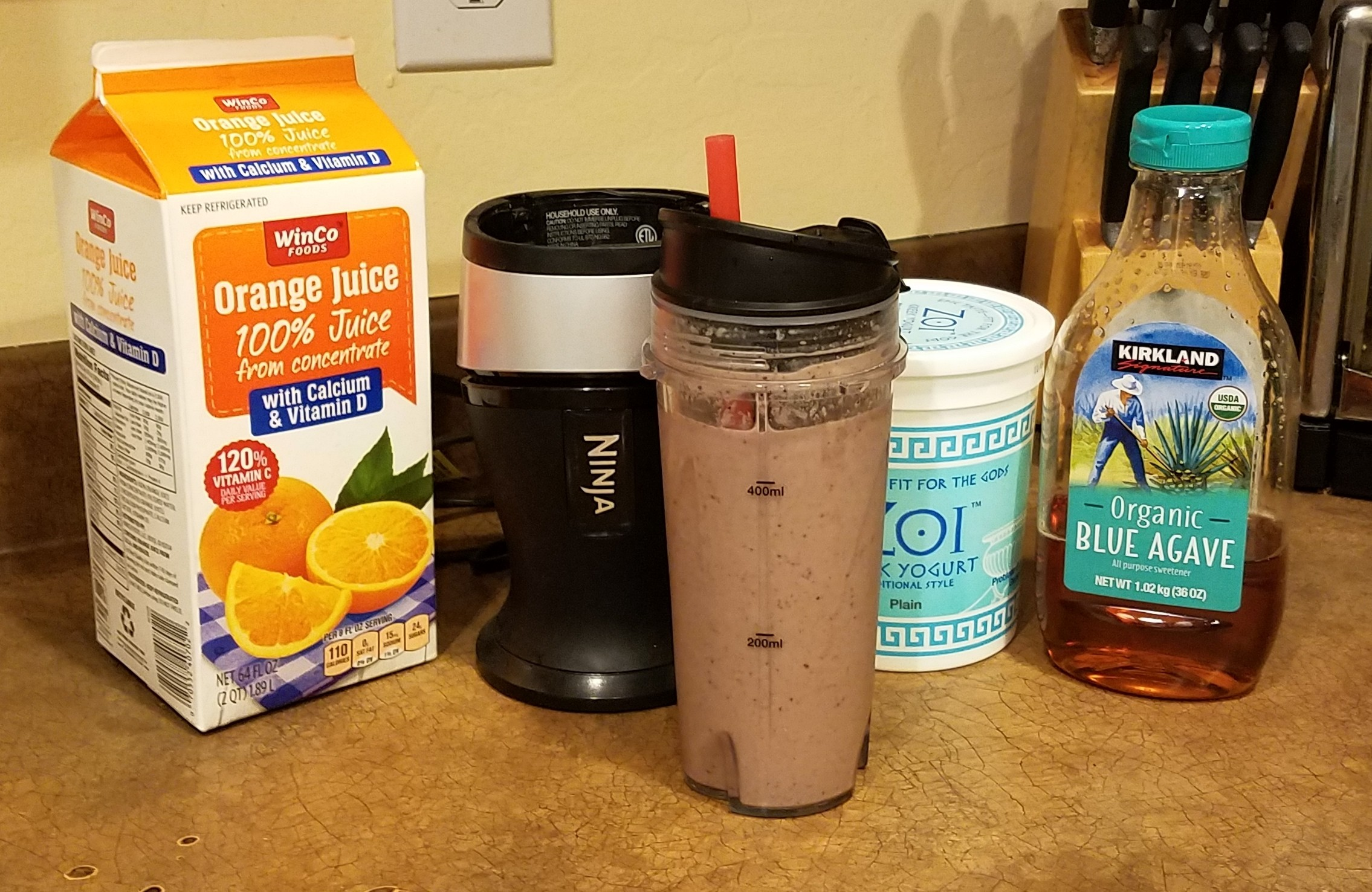 Ultra Smoothie - Blueberries Strawberries Peaches Bananas Spinach Egg Orange juice Greek yogurt Agave nectar #smoothie #natural #healthy
