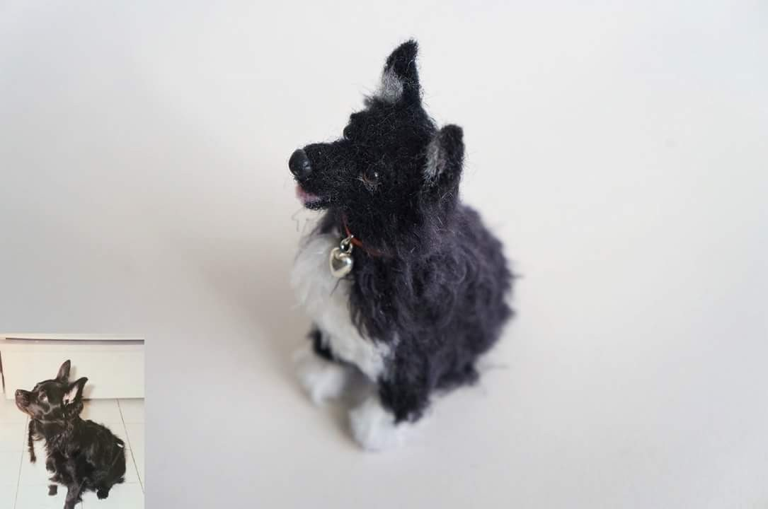Meet Nino, a chihuahua in dog heaven but dearly missed. The wool rendition is 3.5 inches. The real dog is the inset photo.