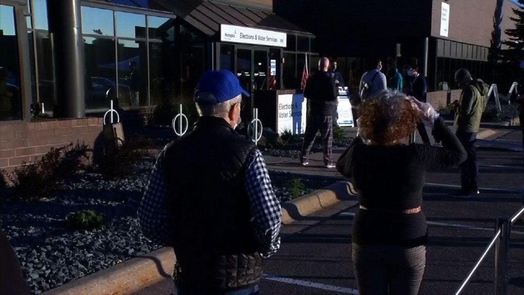 People line up in Minnesota as early voting begins