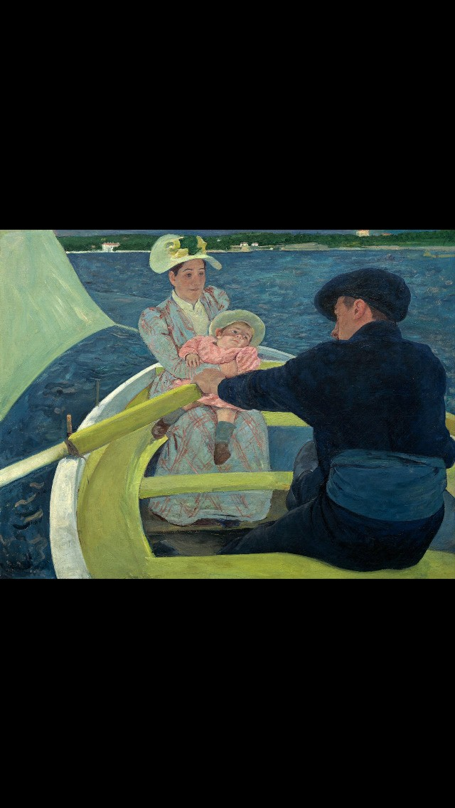 We continue #WomansHistoryMonth by presenting one of the few female impressionist painters: Mary Cassatt. Cassatt was an American painter and printmaker. She was born in Pennsylvania, but lived much of her adult life in France, where she first befriended Edgar Degas and later exhibited among the Impressionists. Cassatt often created images of the social and private lives of women, with particular emphasis on the intimate bonds between mothers and children. Mary Cassatt painted this work during a stay at Antibes, on the Mediterranean coast of France. Under its intense sun, she began to experiment with harder, more decorative color. The bold geometry and decorative patterning of the surface reminds of Gauguin, Van Gogh and of course, of Japanese prints.  This painting, one of her most ambitious, was the centerpiece of Cassatt's first solo exhibition in the United States in 1895. Her contacts with wealthy friends in the United States did much to bring avant–garde French painting into this country