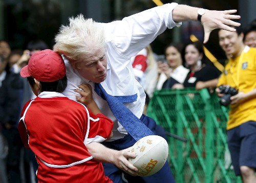 Zip-wire calamity to wild rugby tackles: The comedic face of UK's Johnson