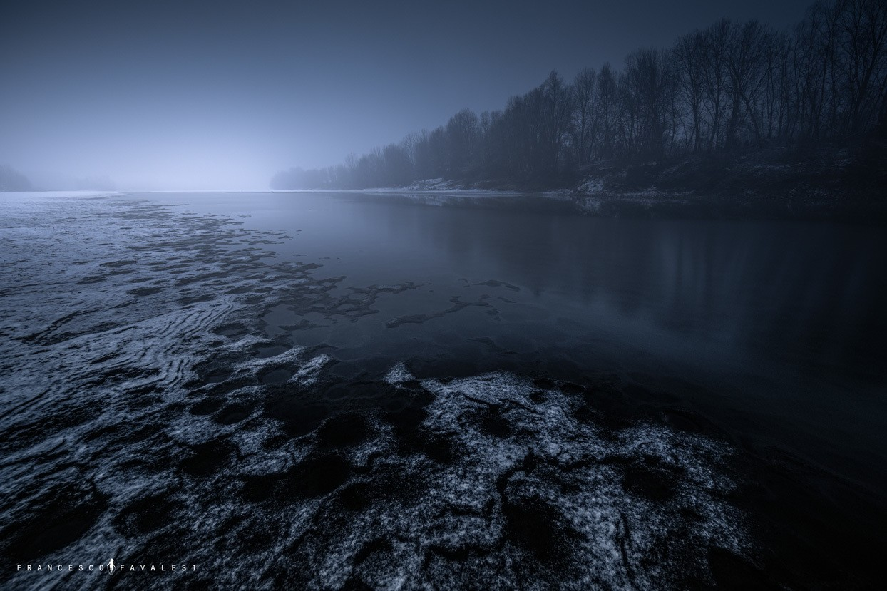 Crepuscolo invernale - fiume Po
