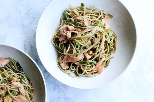 Soba Noodles with Cedar-Planked Salmon Recipe on Food52