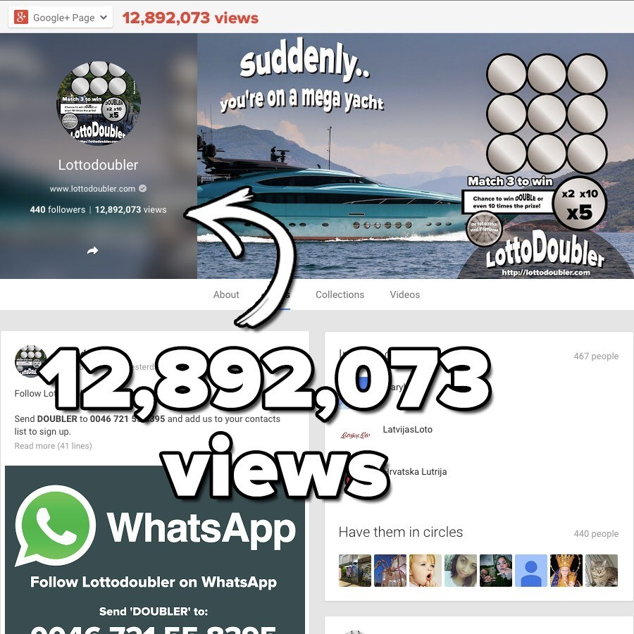 More than 12,000,000 views! One of the biggest instant lottery brands on Google. Lottodoubler on Google Plus Your Winnings! Win up to 10 times! It's all about the doubler! x2, x5, x10 Lotto Doubler instant lottery Twitter of the biggest instant lottery brands on Google #GooglePlus #plus #suddenly #scratch #scratchticket #scratchtickets #scratchgame #scratchgames #lotto #doubler #lottery #lottodoubler #lotterydoubler #jackpot #win #winner #winnings #chance #luck #lucky #millionaire #money #instantgames #instantgame #insta #instant #games