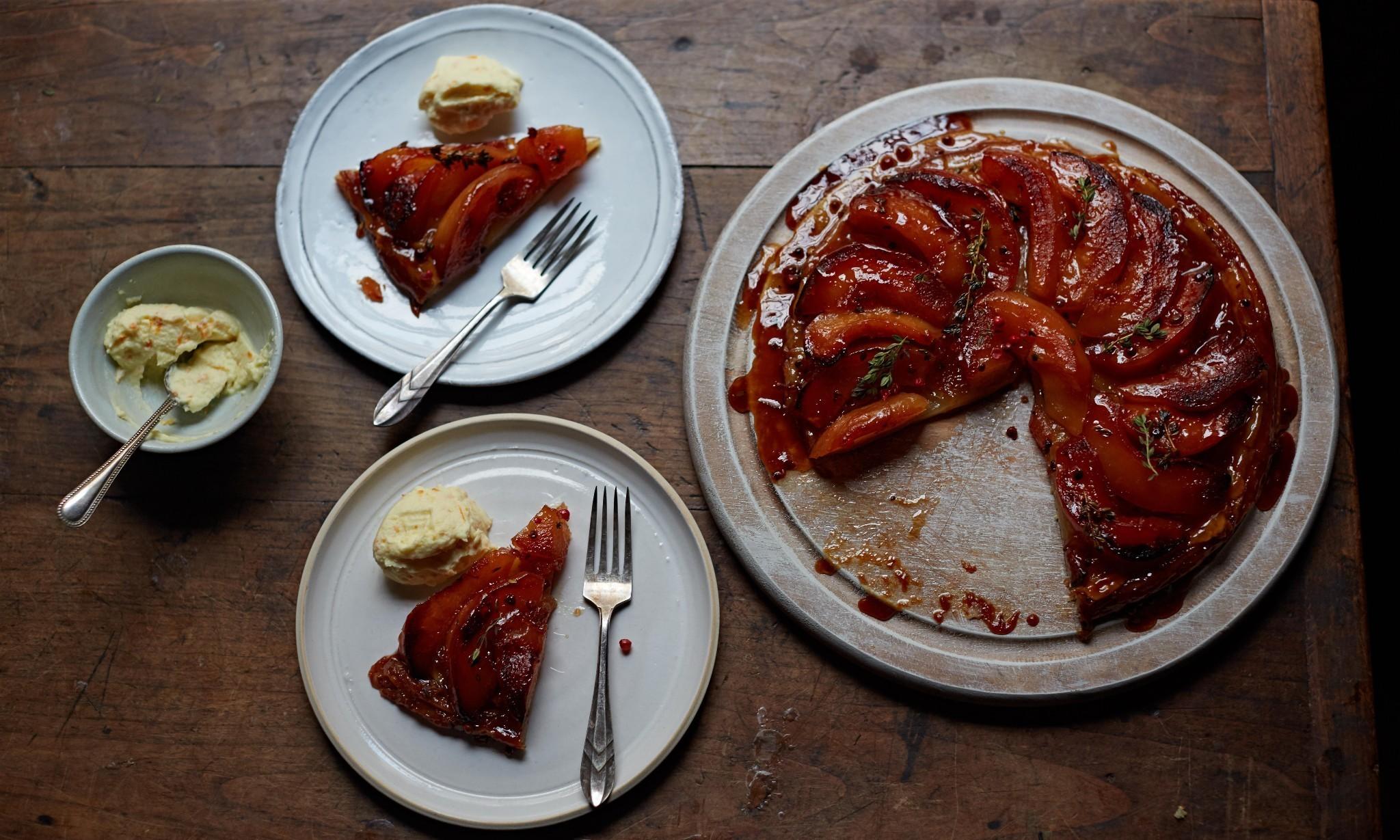 Kylee Newton's preserved quince tarte tatin with whipped orange mascarpone recipe