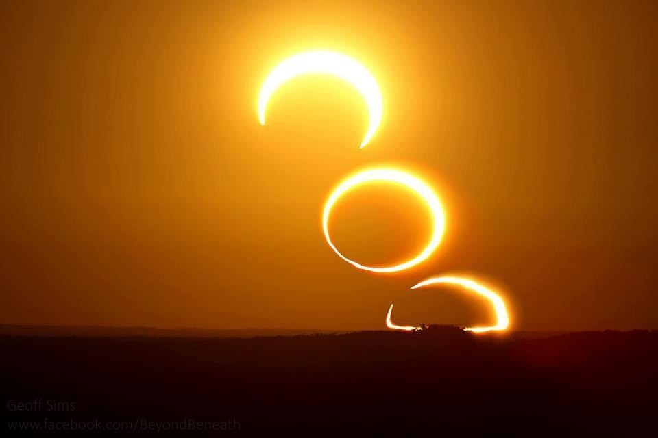 Good annular morning with three sun to give light