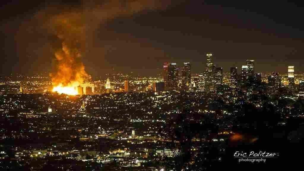Massive Fire Shuts Down Freeways In Los Angeles