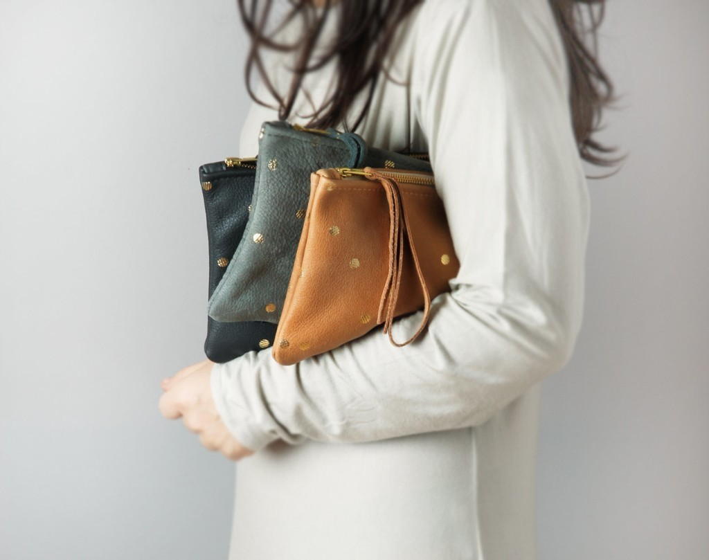 Leather clutch with gold dots - dotted pouch, confetti pouch, golden dots