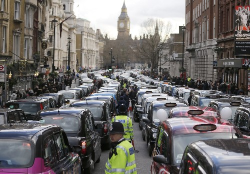 Massive Protest over Uber in London: Pictures