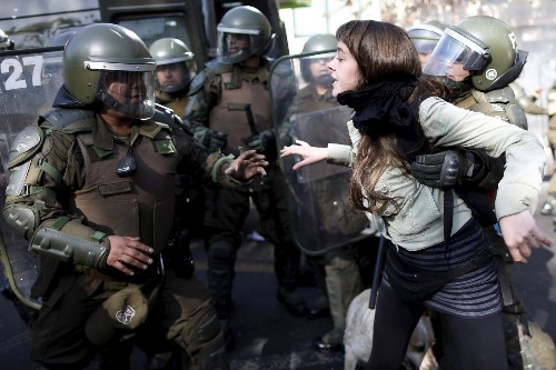 Students Clash with Police in Chile