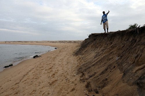 Ivory Coast town sinking underwater as coastal erosion advances