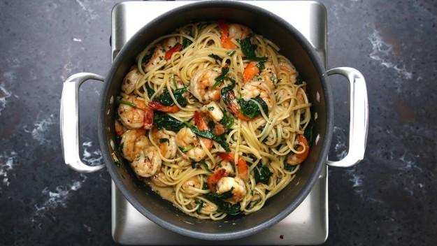 One-Pot Lemon Garlic Shrimp Pasta Recipe by Tasty