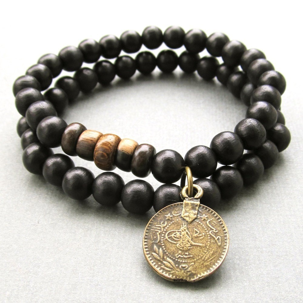 Mens double black wooden beaded stretch bracelets with antique bronze metal ottoman charm
