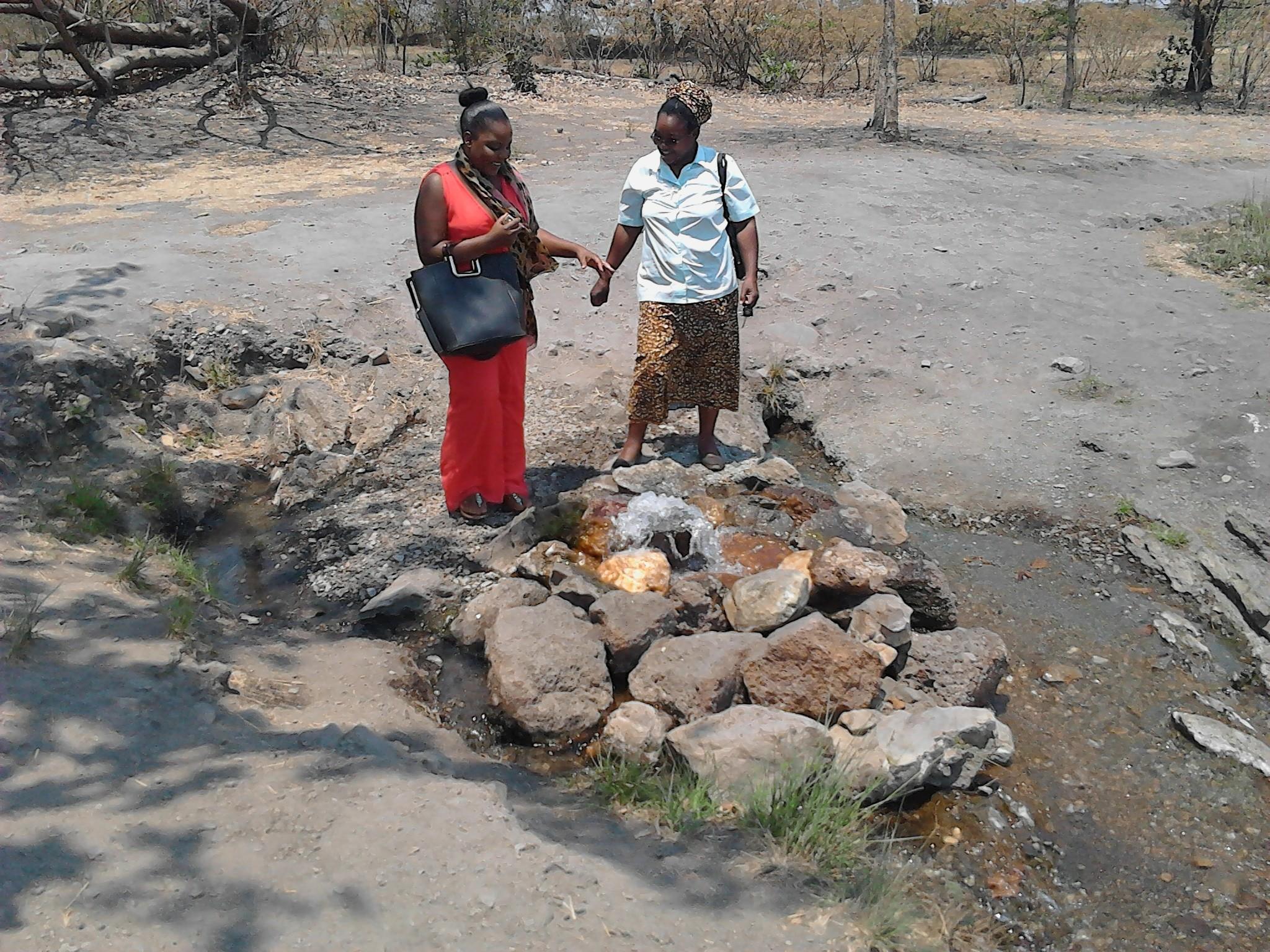 Besa and Sr. Mwansa at the hot spring Chinyunyu Zambia