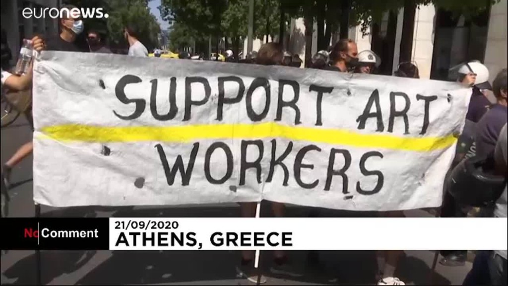 Artists protest as COVID-19 restrictions tightened in Athens