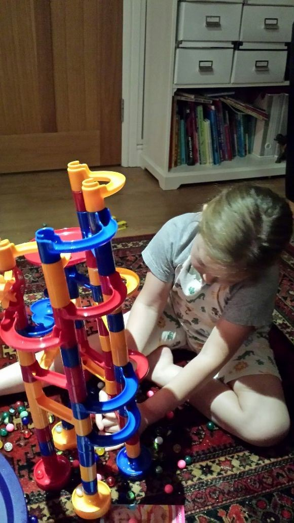 Xanthe havin fun with marble run. Thx uncle phil and auntie cheryl xx