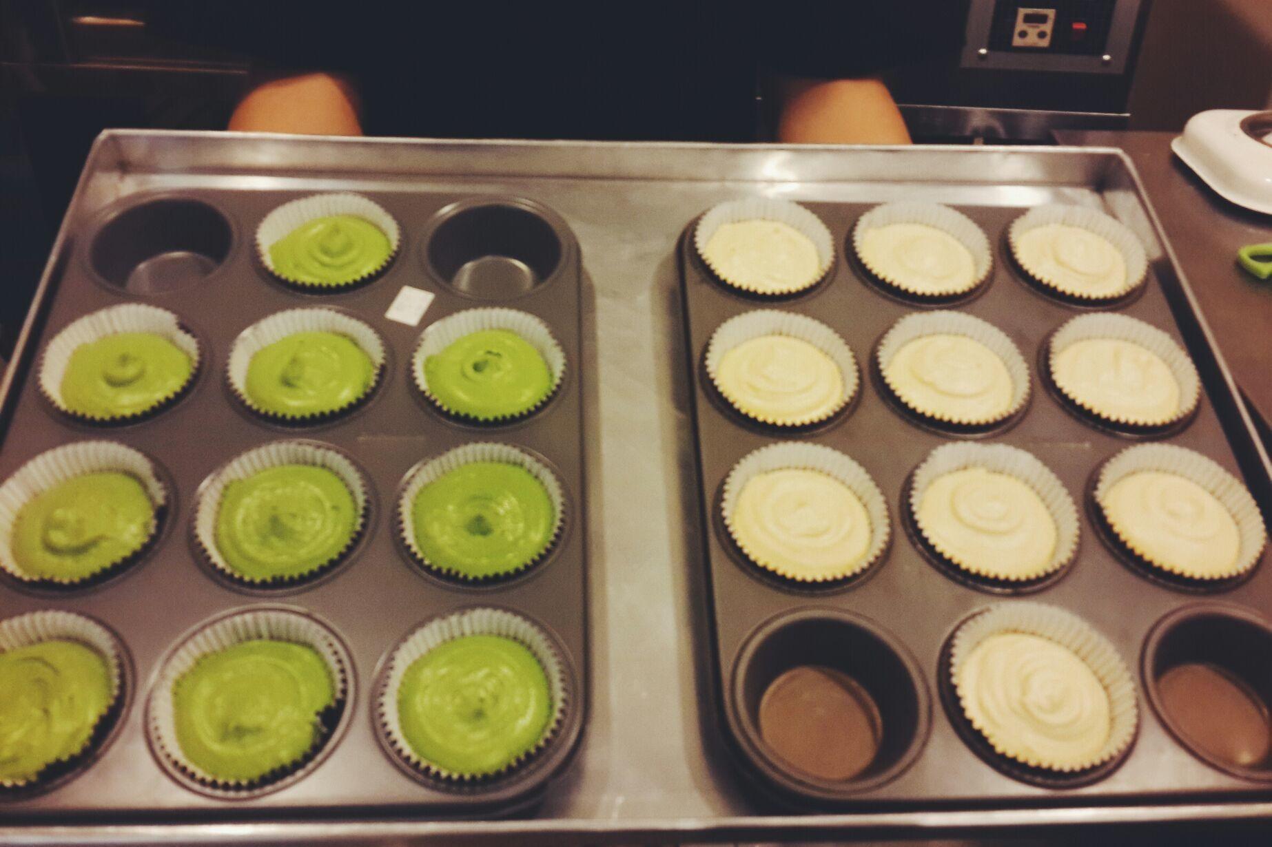 Greentea and vanilla cupcakes dough. Can't wait!