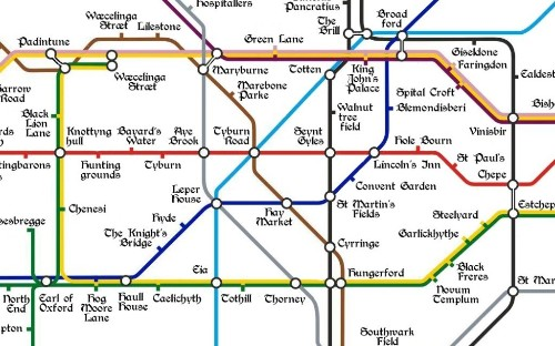 This charming Medieval Tube map shows stations with the names of ancient towns