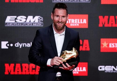 Soccer: Barca's Messi receives record sixth European Golden Shoe
