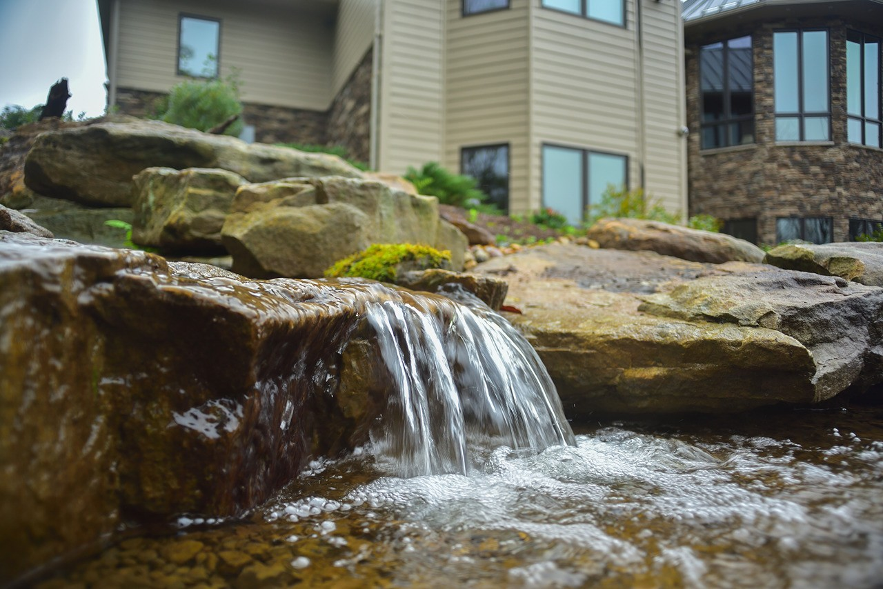 Hidden Valley PA. Pondless waterfall built by Aquatic Edge.