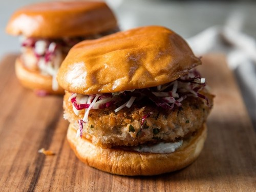 Salmon Burgers With Rémoulade and Fennel Slaw Recipe