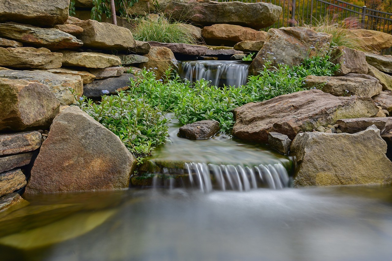 Koi pond waterfall in Butler County PA