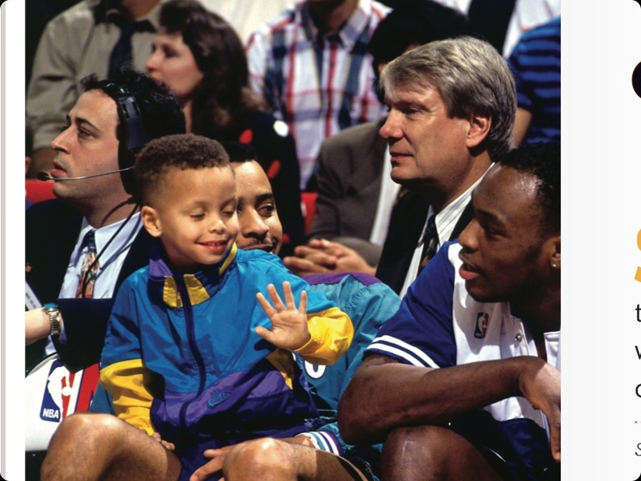 #tbt the 1992 3 point contest a little version of steph and a man we know as Mr.Dell Curry #iknowwererighleygetsit