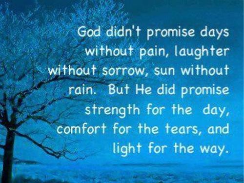 God didn't promise days without pain, laughter without sorrow, sun without rain. But He did promise strength for the day, comfort for the tears, and light for the way.