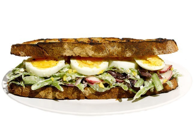 Egg Sandwich with Green Bean Slaw