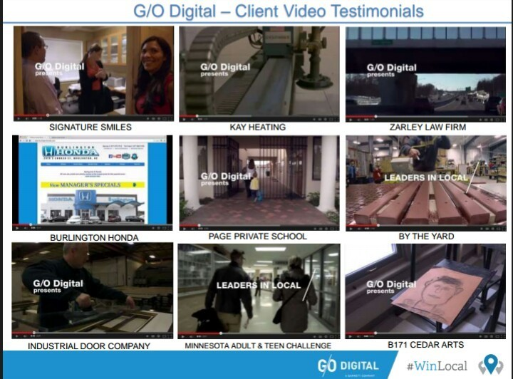 G/O Digital Client Testimonials at our YouTube Channel: