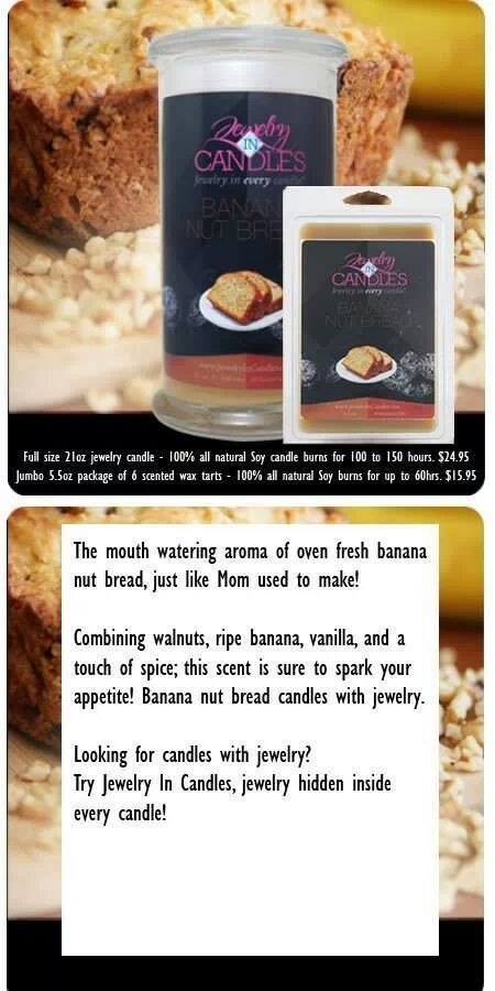 Banana Nut Bread www.jewelryincandles.com/store/scentedtreasure