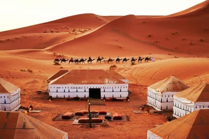 Luxury desert camp in the Sahara desert