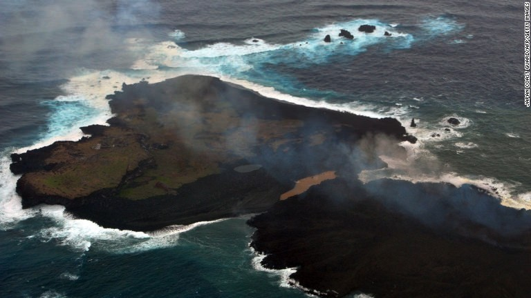 Volcanic island eats another off Japan
