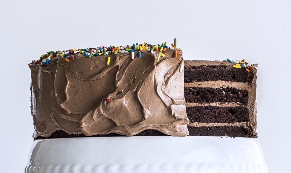 Four-Layer Chocolate Birthday Cake with Milk Chocolate Ganache and Nutella Buttercream