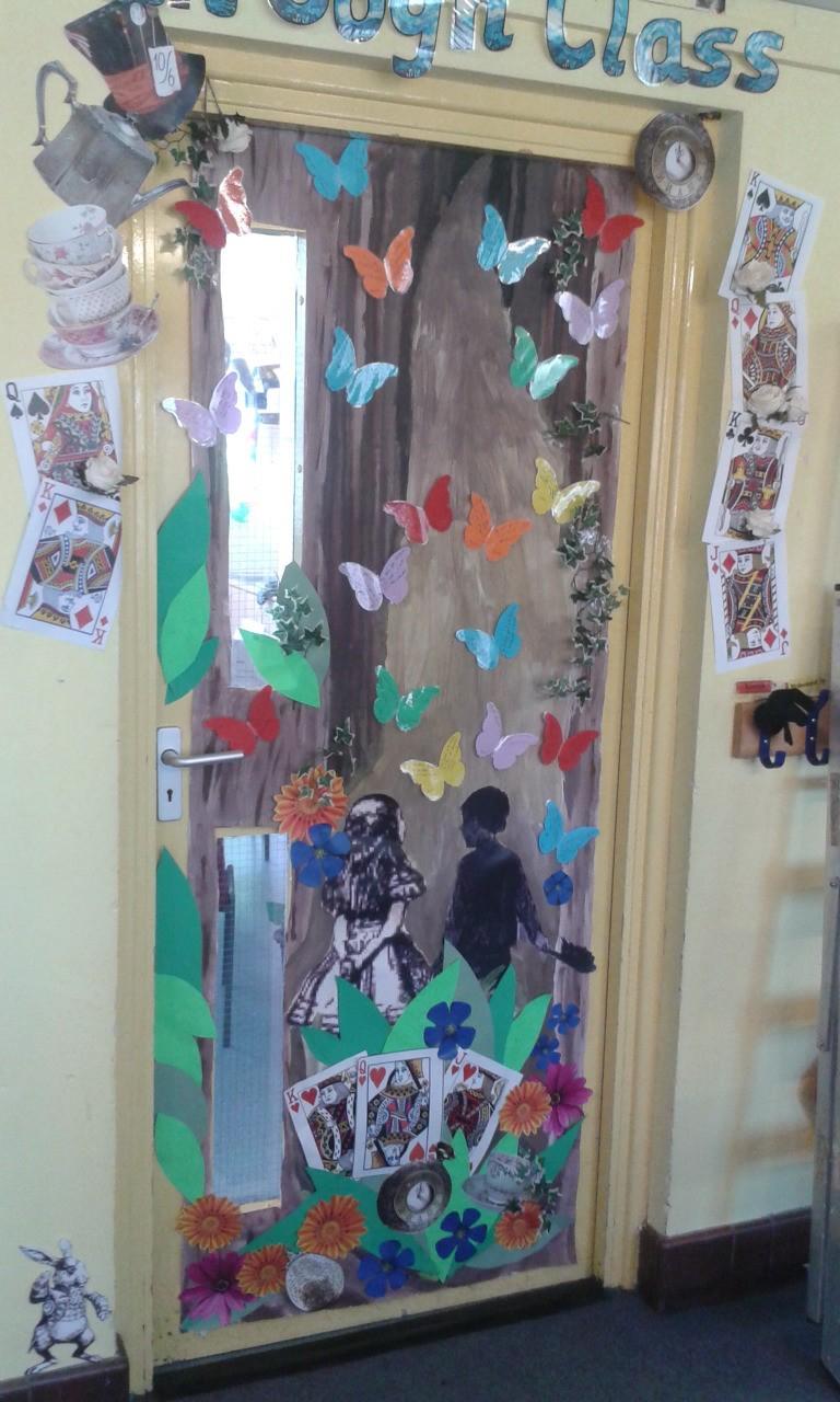 Classroom door: Alice in Wonderland