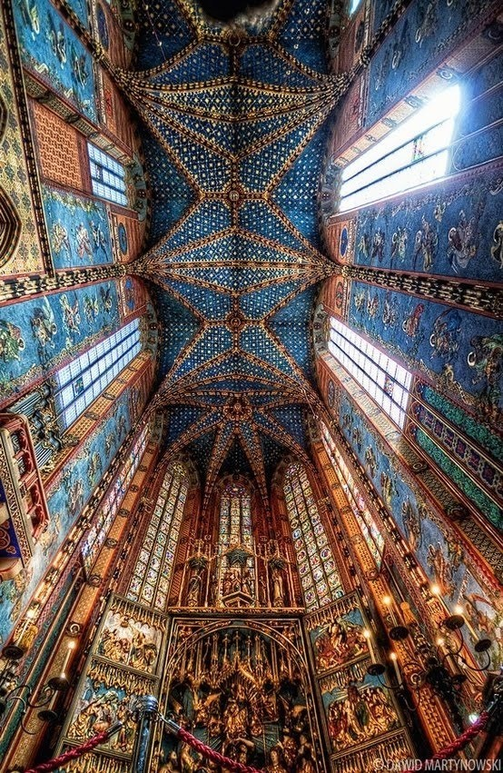 Ceiling over St Marys alter Krakow Poland