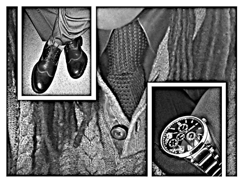 Today's threads and accessories. Fossil Townsman multifunction stainless steel Twist. Vintage black knit Van Heusen necktie. Clark's black leather wingtips. #workflow