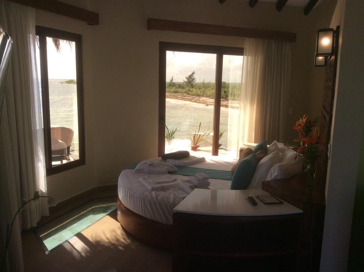 Round Bed in Over Water Suites at El Dorado Maroma