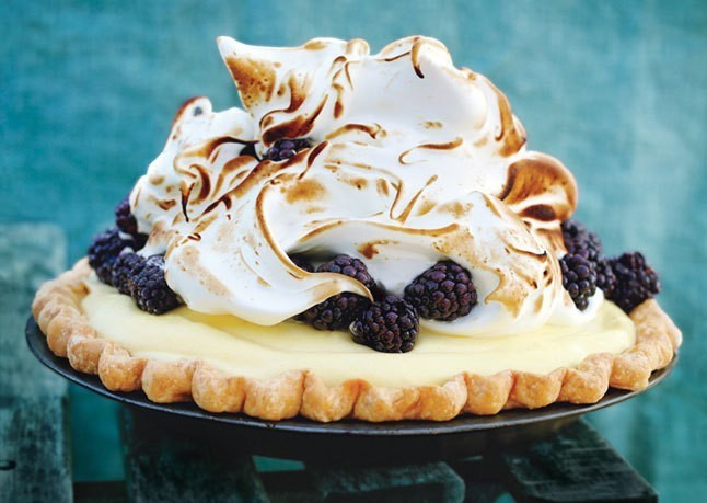Lime & Blackberry Italian Meringue Pie