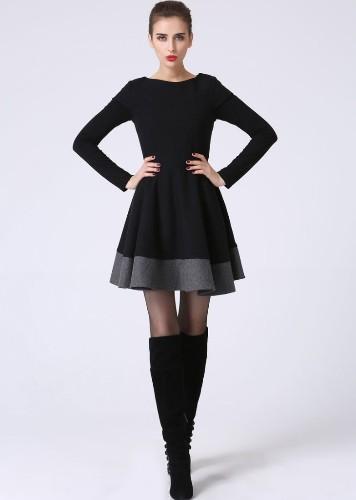 Little Black Dress - LBD - Short Sleeve Dress - Black and Gray - Black Mini Dress - Wool Dress - Color block - Wool Clothes (1069)