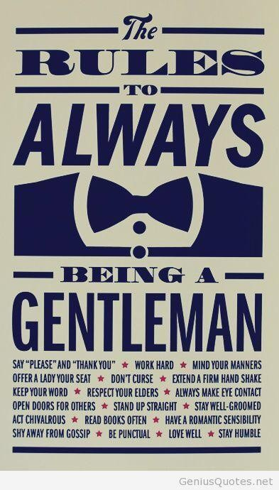 Rules to Always Being a #Gentleman