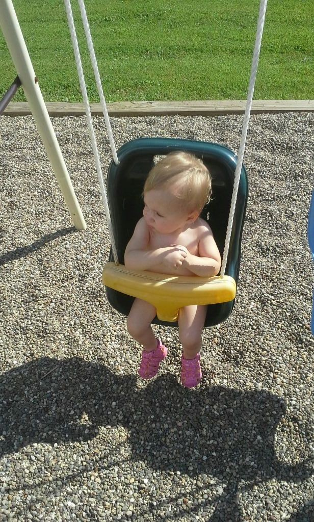 She looks so adorable sitting in the swing growing up fast #LittleAngel